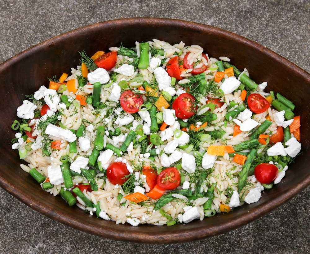 The Hungry Hounds— Spring Picnic Orzo Salad with Asparagus & Feta