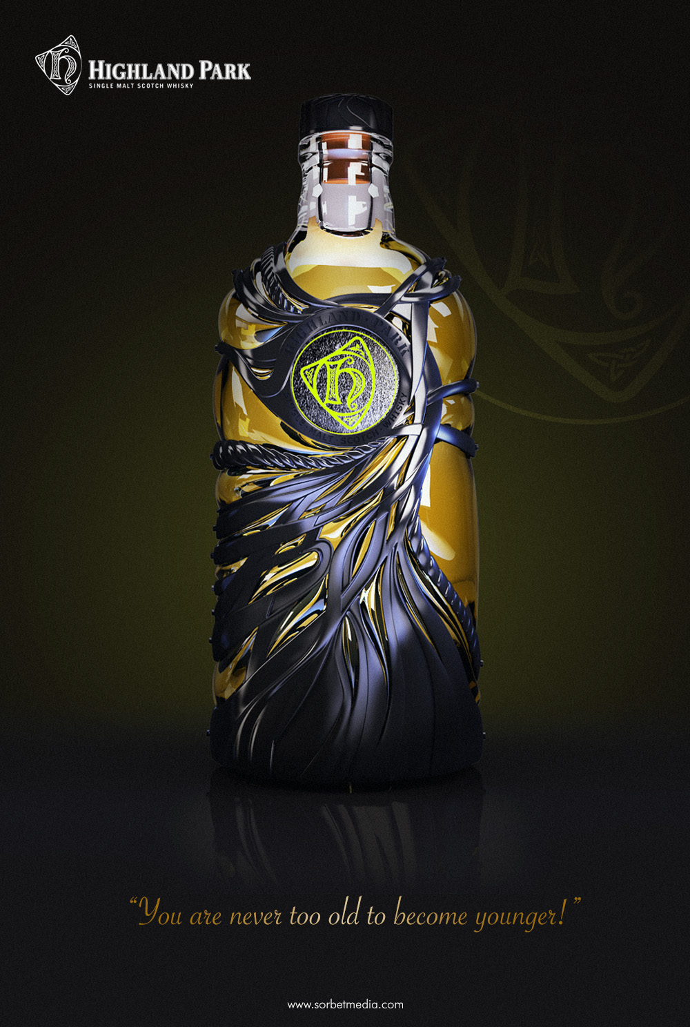 Highland Park 'Black Edition' - 3D Concept visual for alternative 50 year old whiskey cask.