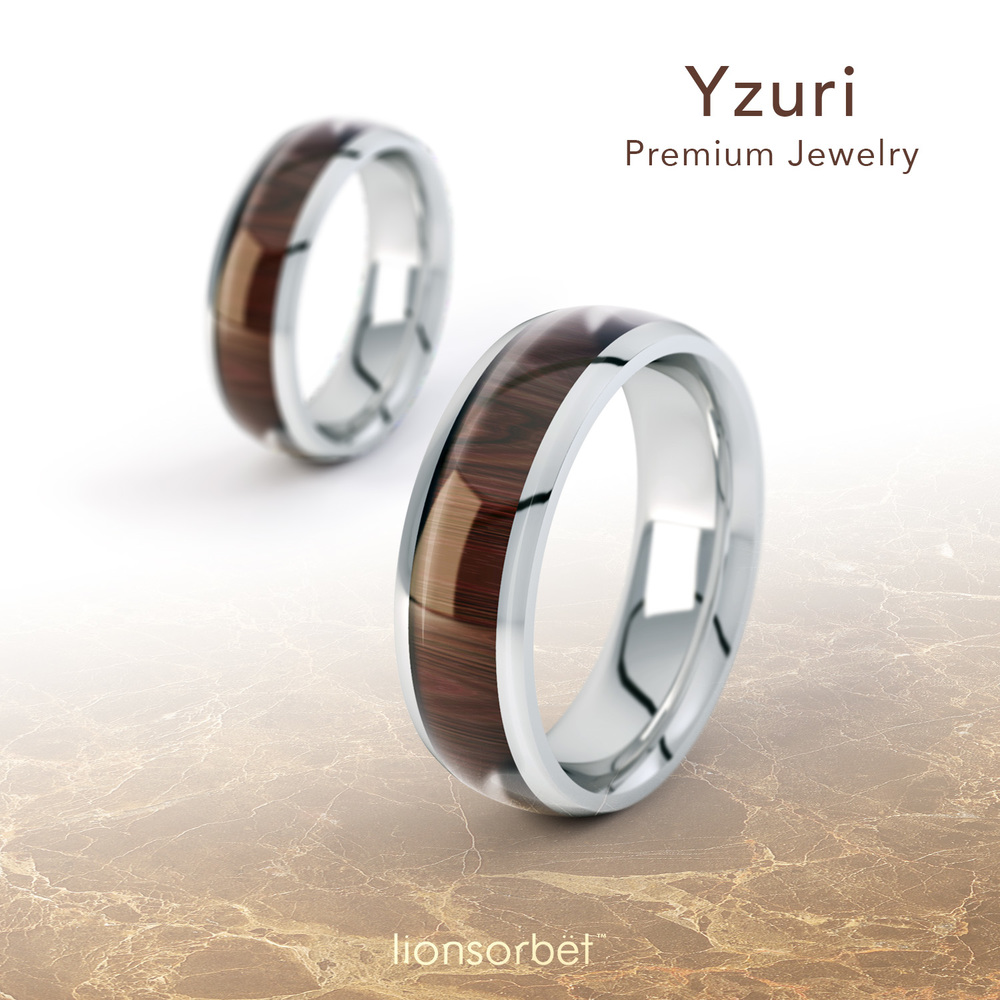 wooden inlay wedding rings