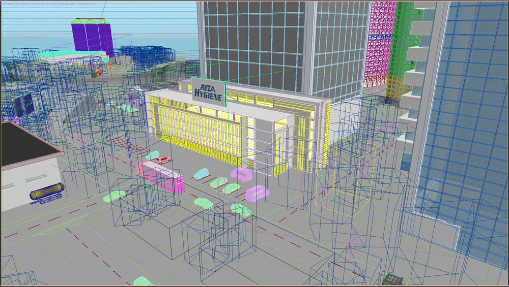 Close up of the main Reza Headquarters in 3D preview.