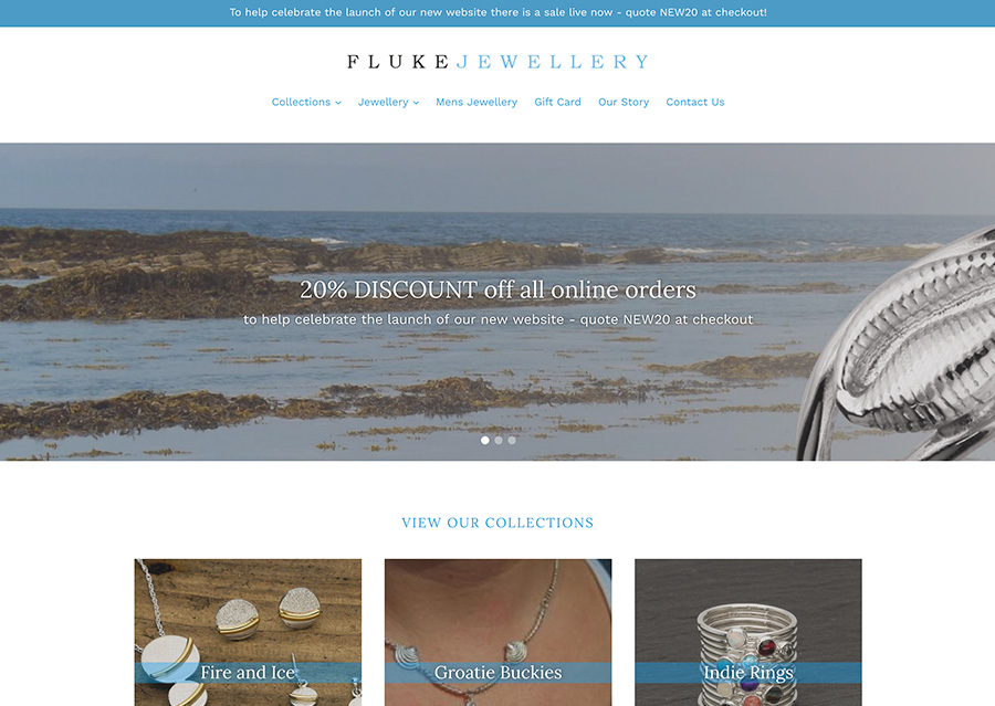 Jewellery of Orkney - We helped Scottish based company Fluke Jewellery re-launch their online presence with a new website for their popular nature inspired pieces.
