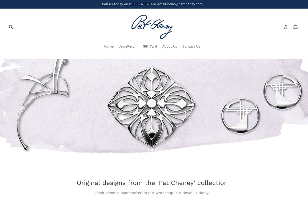 Pat Cheney - We helped Orkney based company Pat Cheney launch a new online shopping experience to show case the beautifully bespoke jewellery of designer Pat Cheney.