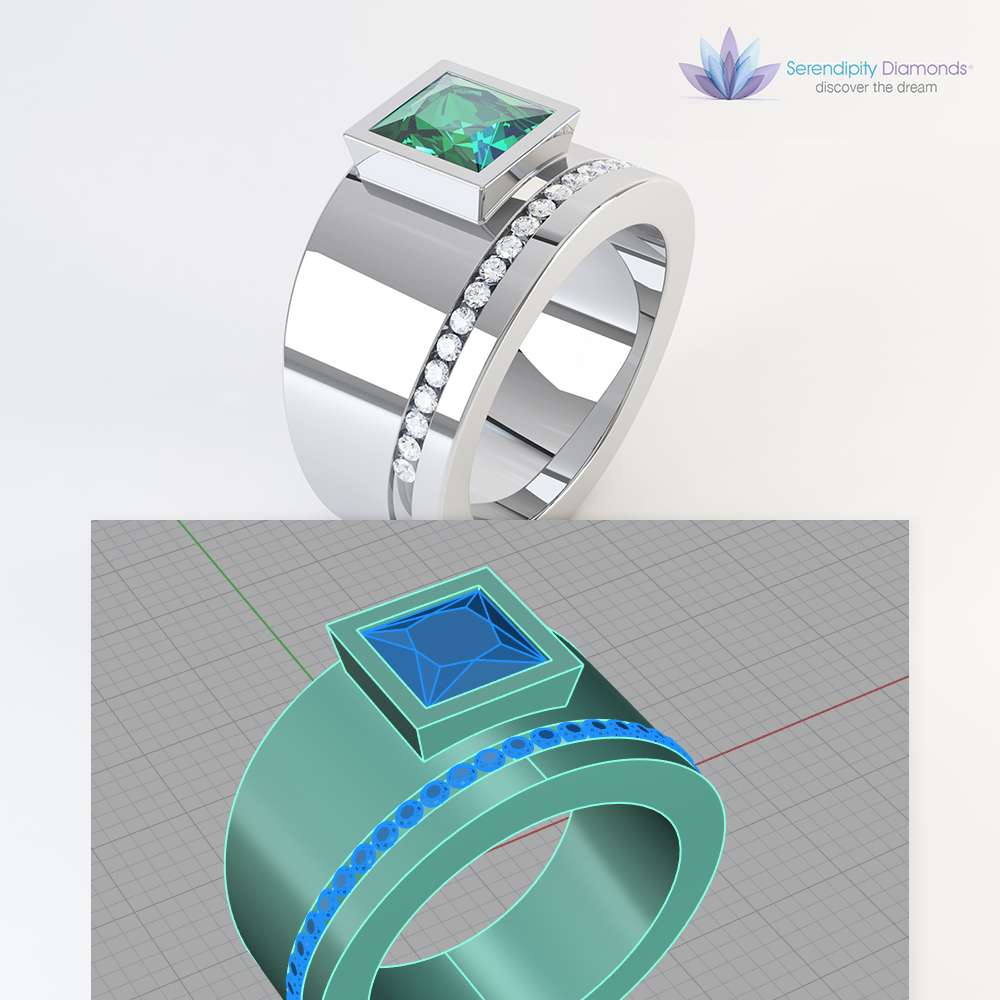 Diamond Ring render from CAD