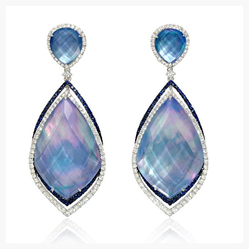 Doves diamond, sapphire, white topaz, lapis lazuli and mother of pearl 18k white gold dangle earrings   Jewelry Photography NYC Image © KKish 2015