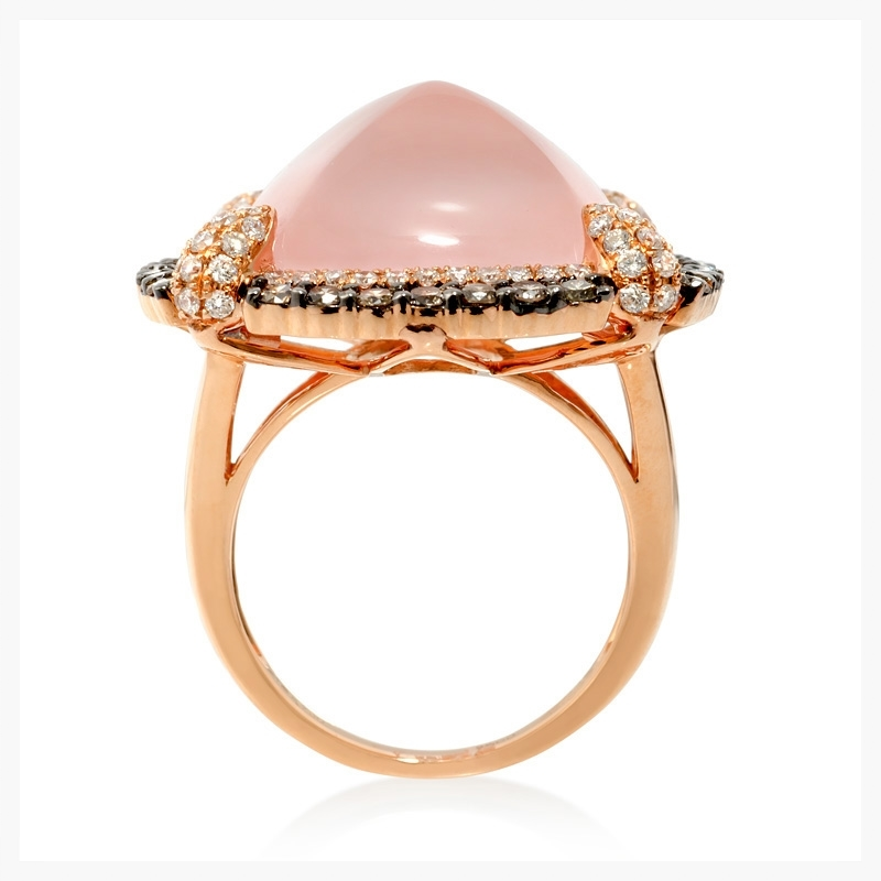 Doves diamond and pink quartz 18k rose gold and black rhodium ring.   Jewelry photography NYC Image © KKish 2015