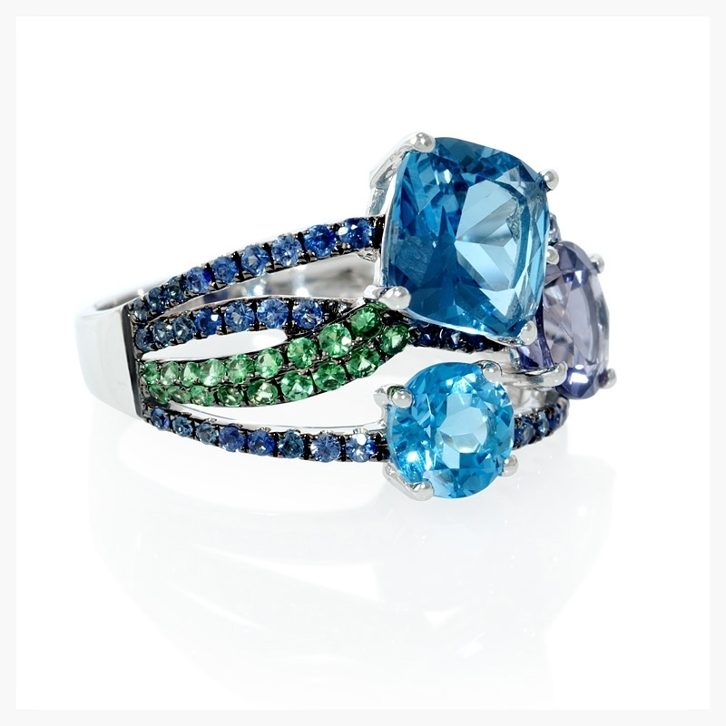 Blue Sapphire, Green Tourmaline, Iolite and Blue Topaz 18k White Gold and Black Rhodium Ring   Jewelry Photography NYC Image © KKish 2015