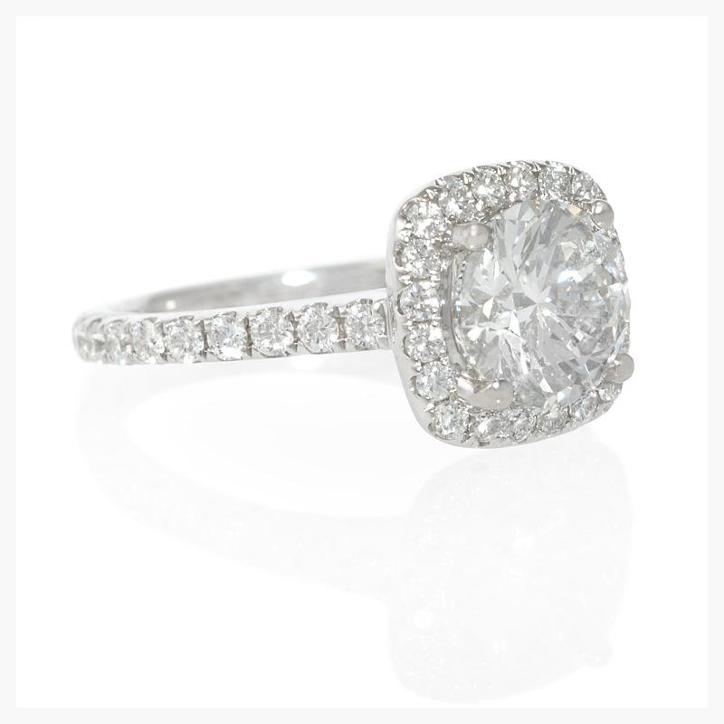 Diamond antique style 18k white gold halo engagement ring setting.    Jewelry Photography NYC Image © KKish 2015
