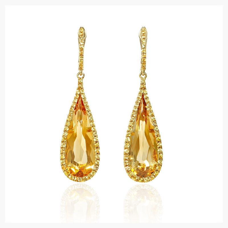 Yellow sapphire and citrine 18k yellow gold dangle earrings.    Jewelry Photography NYC Image © KKish 2015