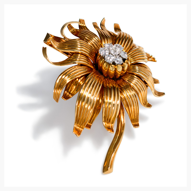 Antique yellow gold and diamond brooch  Jewelry Photography NYC Image © KKish 2015
