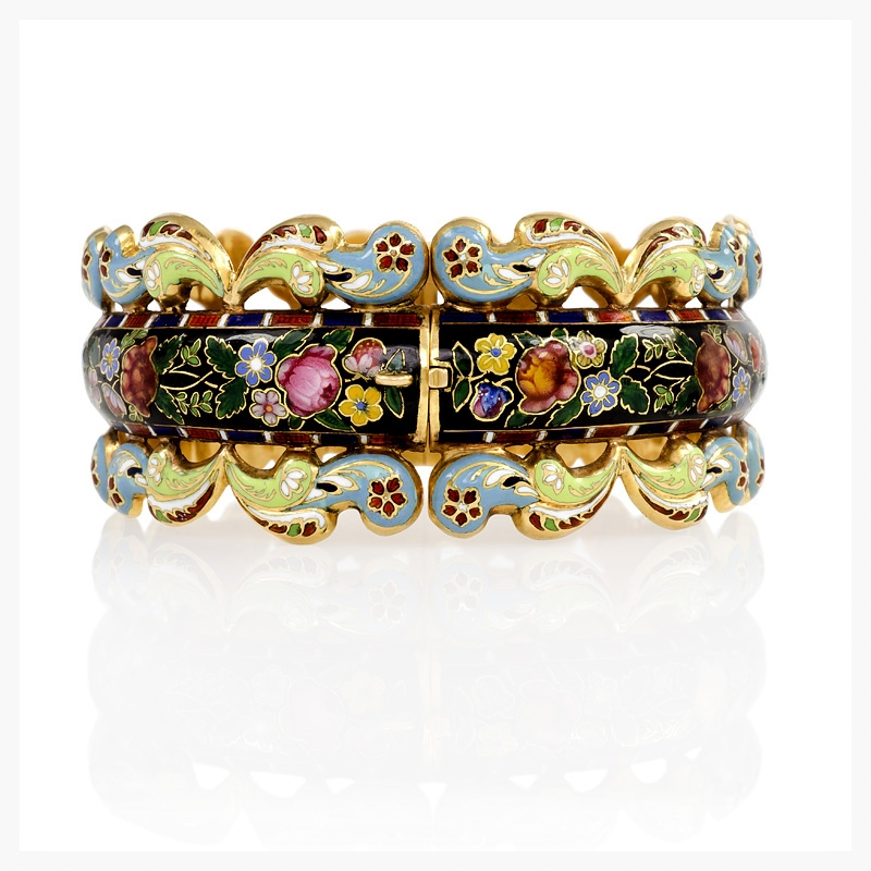 Antique Swiss enamel bracelet set in 18k gold with floral motif and hinge construction from 1860.   Jewelry Photography NYC Image © KKish 2015