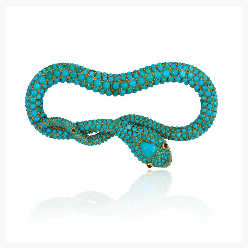 Antique pavé turquoise bracelet in the form of a serpent with ruby eyes, in sterling silver and 18k.    Jewelry Photography NYC Image © KKish 2015