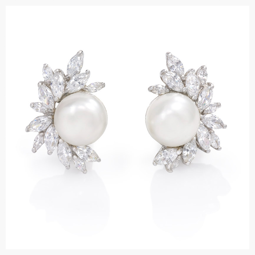 Marquis cubic zirconia and freshwater pearl clip earrings, in sterling silver. Andrew Prince.   Jewelry Photography NYC Image © KKish 2015