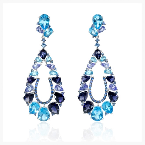 Blue sapphire, tanzanite, blue topaz, and lolite 18k gold dangle earrings.   Jewelry Photography NYC Image © KKish 2015diamond earrings