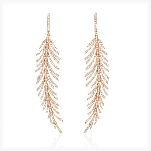 Diamond 18k rose gold dangle earrings   Jewelry Photography NYC  Image © KKish 2015