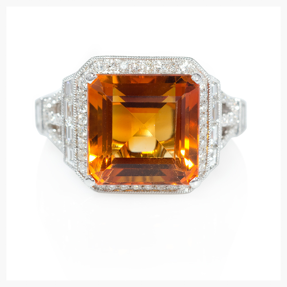 Diamond and Citrine antique style 18k white gold ring.   Jewelry Photography NYC   Image © KKish 2016