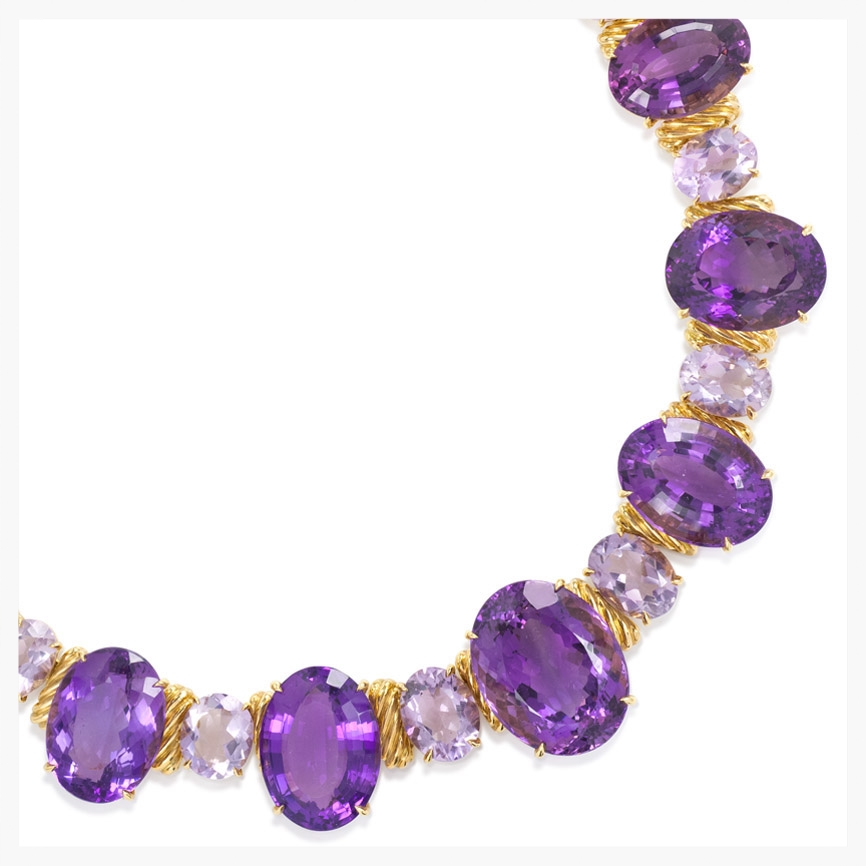 Amethyst necklace in 18k gold   Jewelry Photography NYC Image © KKish 2016