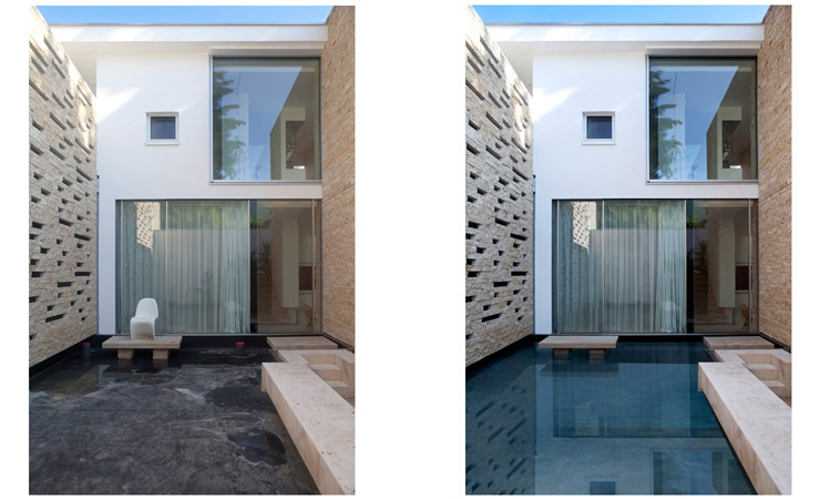 Exterior Starnberg, Germany - Retouch, remove chair, remove photographer reflection, add water to pool, adjust contrast.  Image © 2011 Gordon Watkinson - Architecture Retouching - KKish -(before on left, after on right)