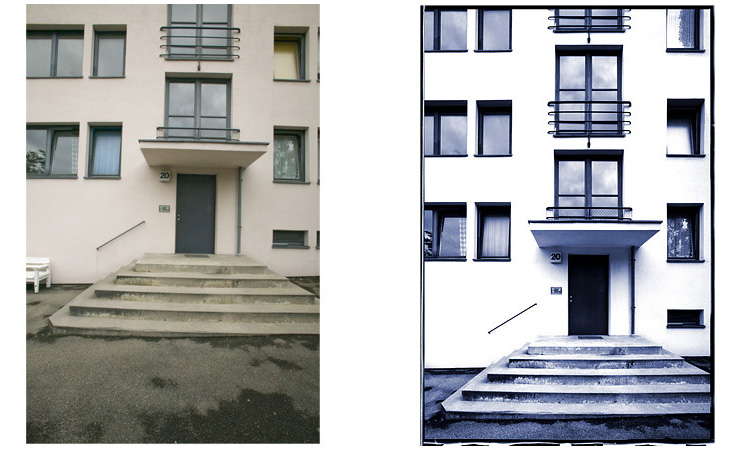 Bauhaus Exterior Stuttgart - Retouch, straighten lines, clean, whiten and extend building to 3rd floor, emulate Polapan High Contrast Film.  Image © 2008 Gordon Watkinson - Architecture Retouching - Museum Exhibit Print, Book. KKish (before on left, after on right)