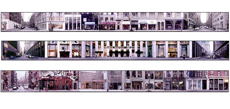 StreetCanvas Project - Combine 8 scanned 35mm film images per block (35 blocks of Madison Ave. and West Broadway)  width - 9000px ea (45in width C-print). Images © Kevin Kish 2005  - Architecture Retouching - Kevin Kish
