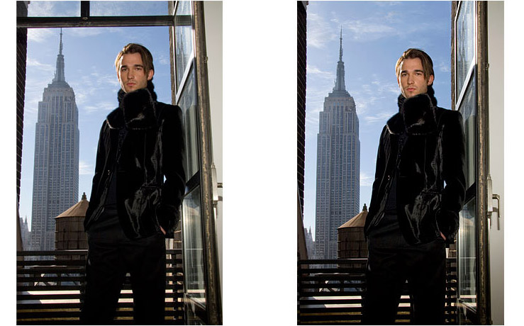 Male Model Empire State - Silhouette, lighten model, straighten door-frame and remove top bars: Image © Michael Bonacci 2008 - Retouching - KKish (before on left, after on right)