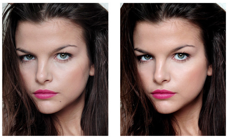 Female Model - Improve skin, color,lips, eyes, overall contrast, tone: Image © 2009 - Retouching - KKish (before on left, after on right)