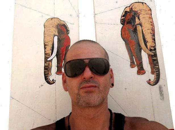 """Marko Eskalante . """"My roommate got a built -pet elephant""""  Mixed Media on Canvas.           Photo by Eskalante"""