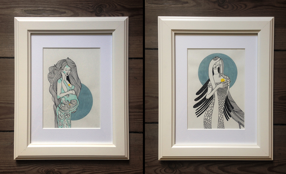 """Moon Mother"" & ""  Moon Daughter"" - illustration, ink, acrylic on paper, 24 x 30cm, 2014"