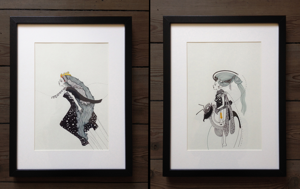 """Queen of the Night"" & ""Queen of the Day"" - illustration, ink, marker on paper, 32 x 42 cm, 2014"