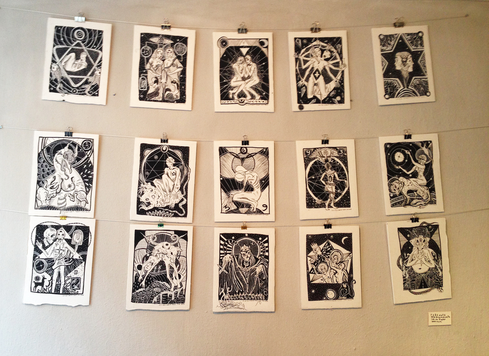 Illustrations by Elizabeth Torres, black ink on paper, 2014                                                                 Photo by Andreea Vlad