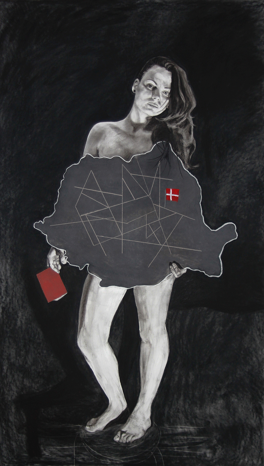 """Identity"" - drawing, pastel on paper, 115 x 195 cm, 2014"