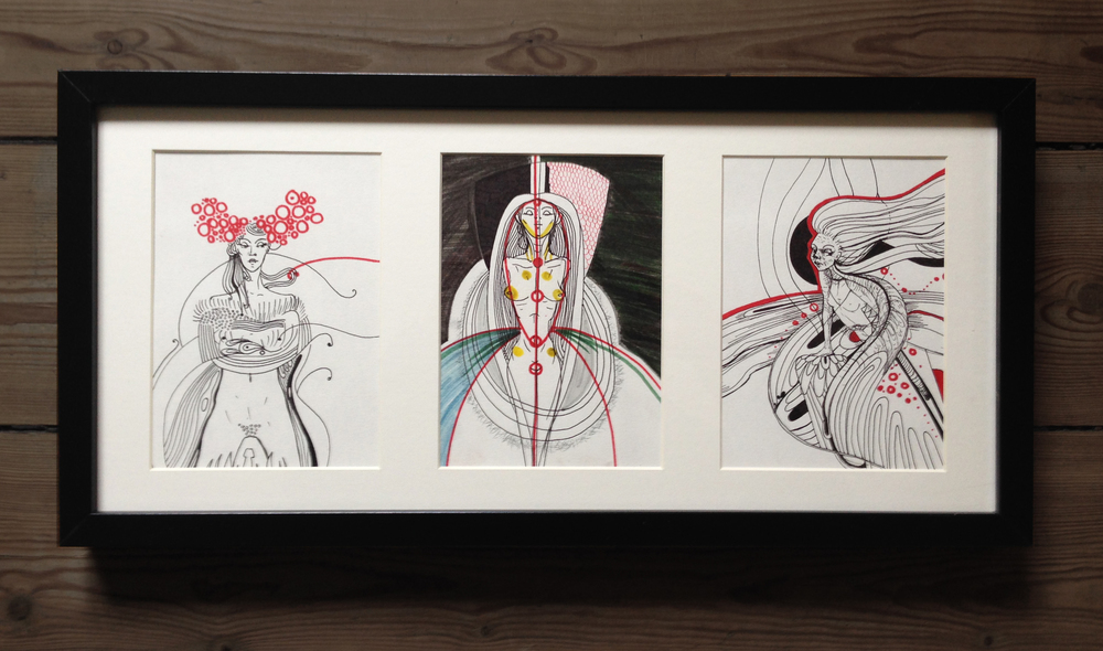 "2. ""Three Graces"", illustration, ink and marker on paper, 52,5 x 25,5 cm, 2013, 1200kr"