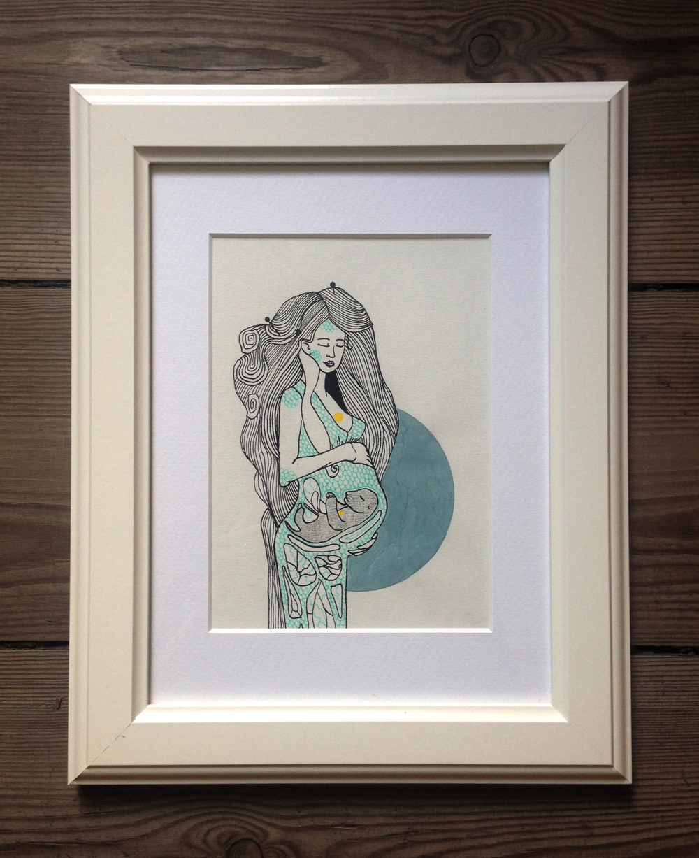 """4.""""Moon Mother"""" - illustration, ink andacrylic on paper, 24,5 x 30cm,2014, 900kr"""