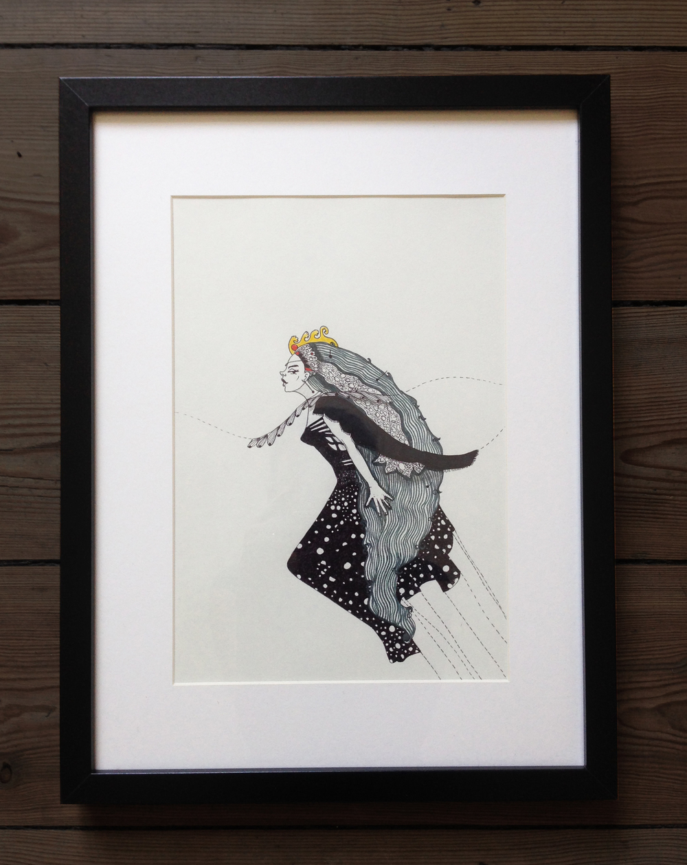 """5. """"Queen of the Night"""" - illustration, ink andmarker on paper, 32,5x 42,5cm,2014, 1500kr"""