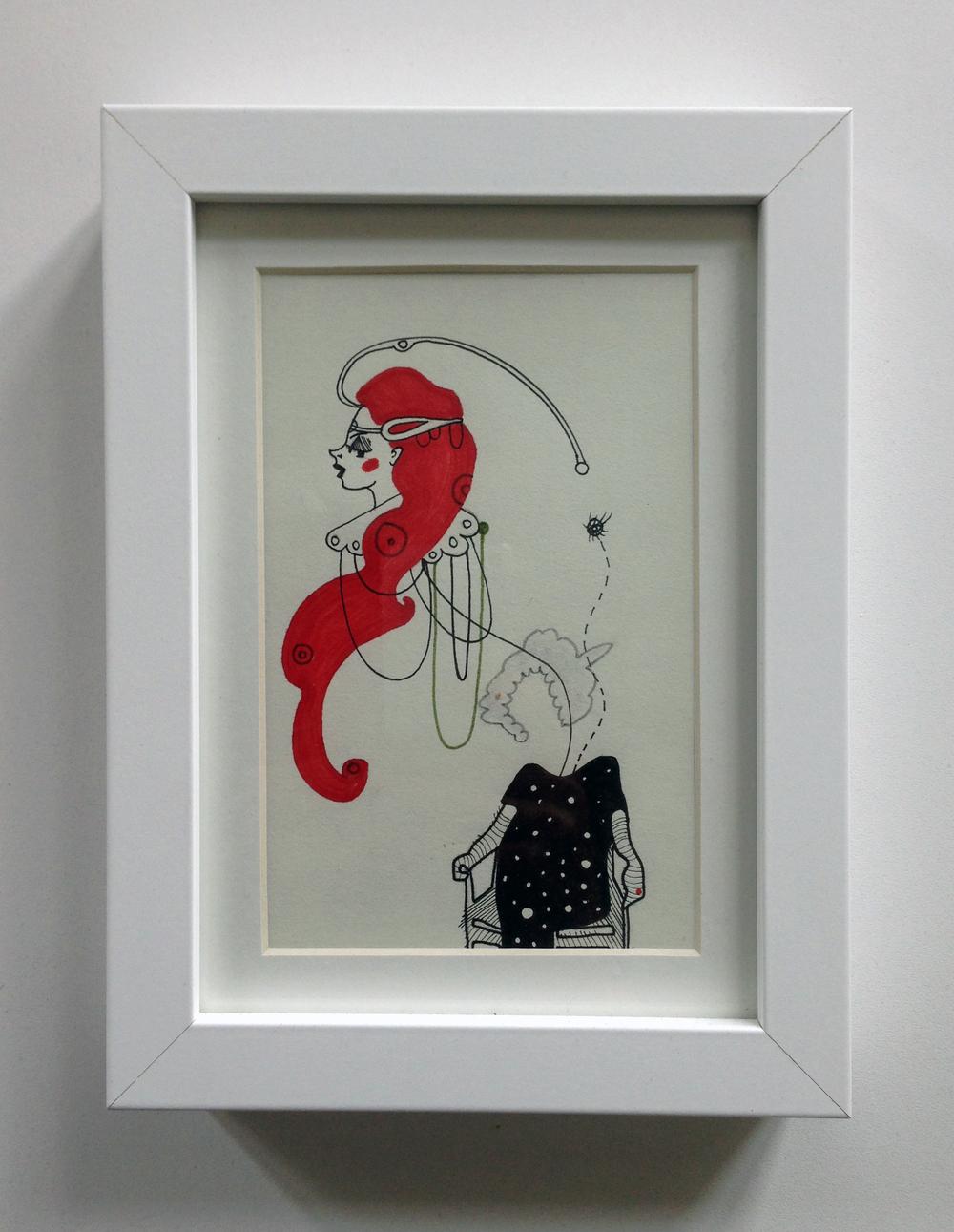 "7. ""Red Queen"" - illustration, ink andmarker on paper, 15,5x 20,5cm, 2014, 400kr"