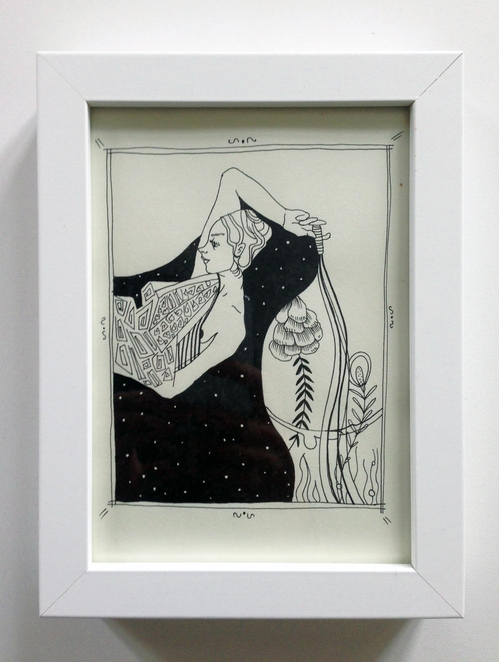 "8. ""Tribut Queen"" - illustration, inkon paper,32,5x 42,5cm, 2014, 400kr"