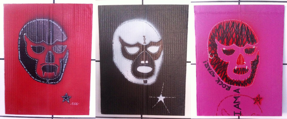 """10. """"We are all Immigrants"""" (detail).Spray paint and markers on cardboard. 29 x 39 cm. (40 pieces) by  Marco Eskalante"""