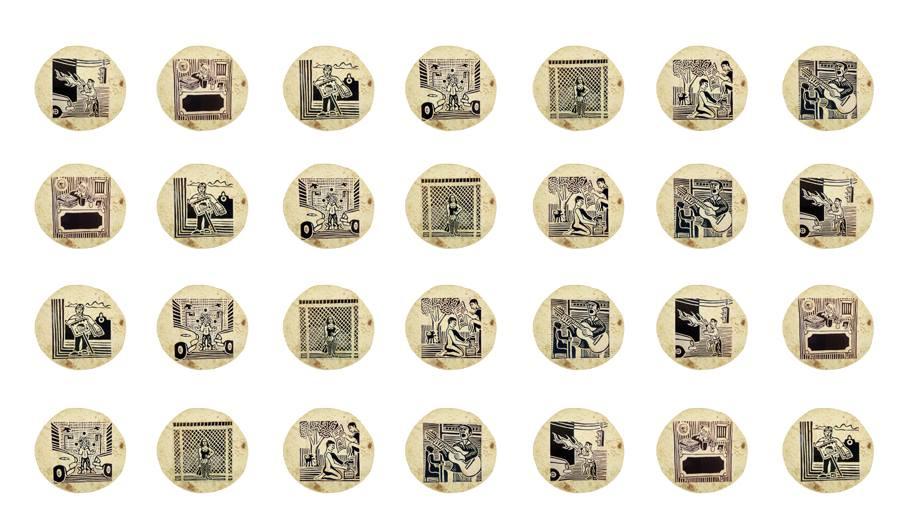 """11. """"Our daily bread"""" / """"El pan nuestro de todos los días"""" Video Projection -2015 Rama King Nash - Original 2001 Linoleum prints on corn tortillas."""