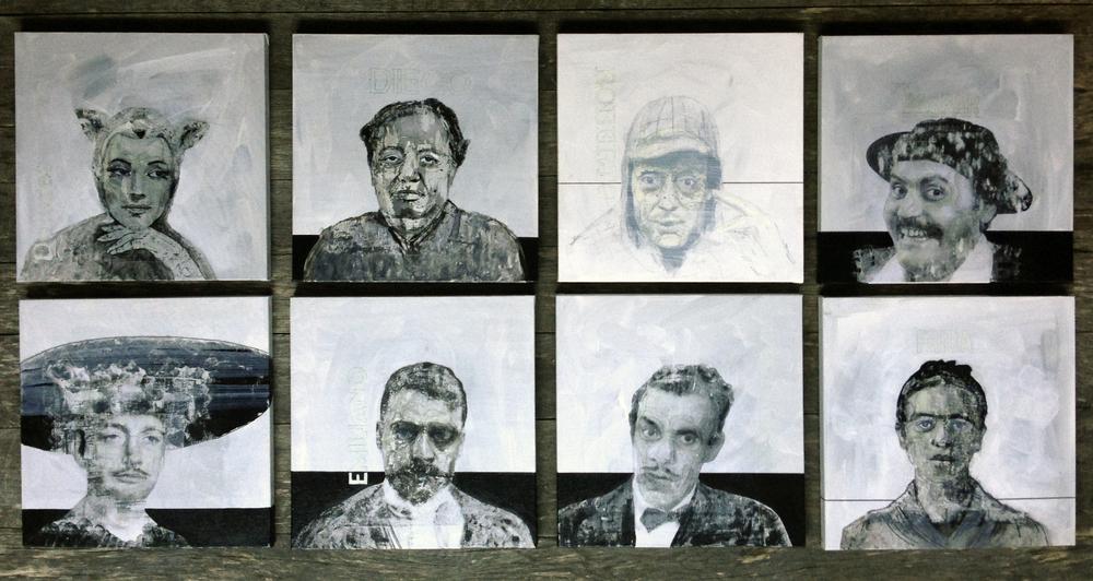 Memento mori, 8 pieces series,30x30 cm, mixed media on canvas, 2015