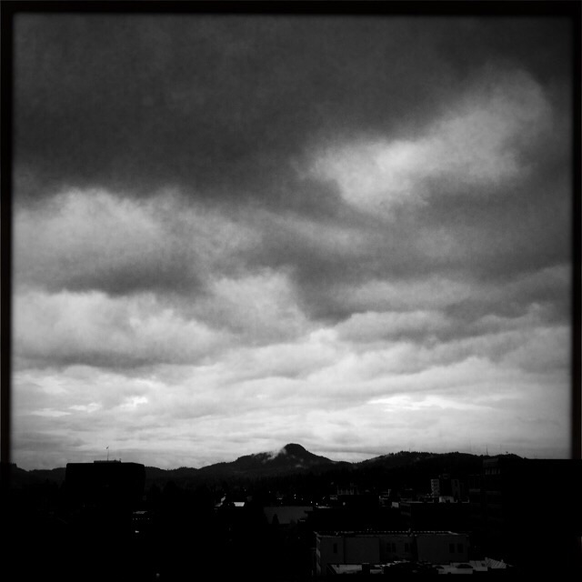 Spencer's Butte on a stormy morning