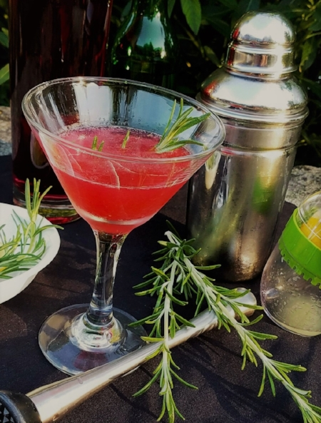"""Amused and Infused""              Marionberry Vodka Lemon Drop with Rosemary"