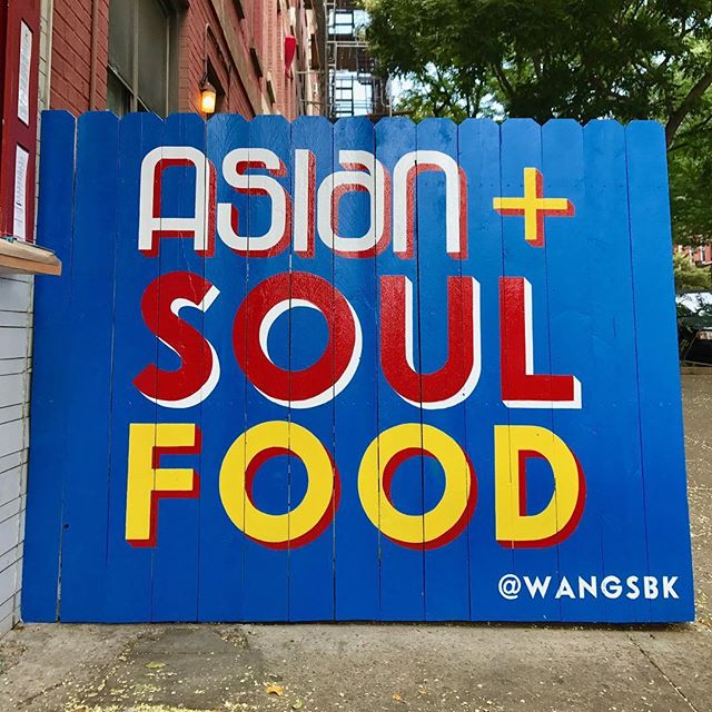 Thank you to the talented @travis_signs for painstakingly painting this mural for our storefront! We love it!!! #signs #wangs #wings #soulfood #asian #artpop