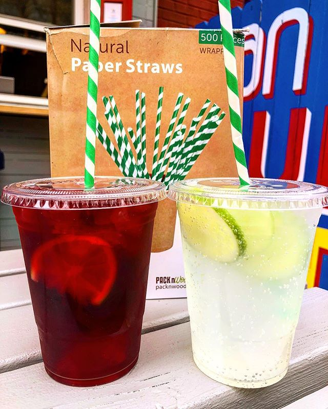Happy earth day! We are now using paper straws...Plastic straws can choke birds and fish so we're pledging to stop using them and protecting our environment. So enjoy our delicious blueberry hibiscus iced tea or ginger/lime soda without any guilt!