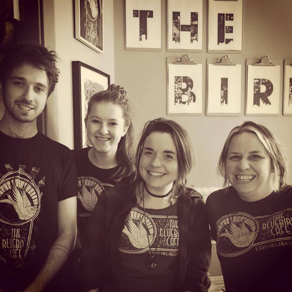 The original Team Bluebird...Fergus Cook singer of Stillhound, Lauren, Kerry Niven and Top Bird Kylie Macgregor.
