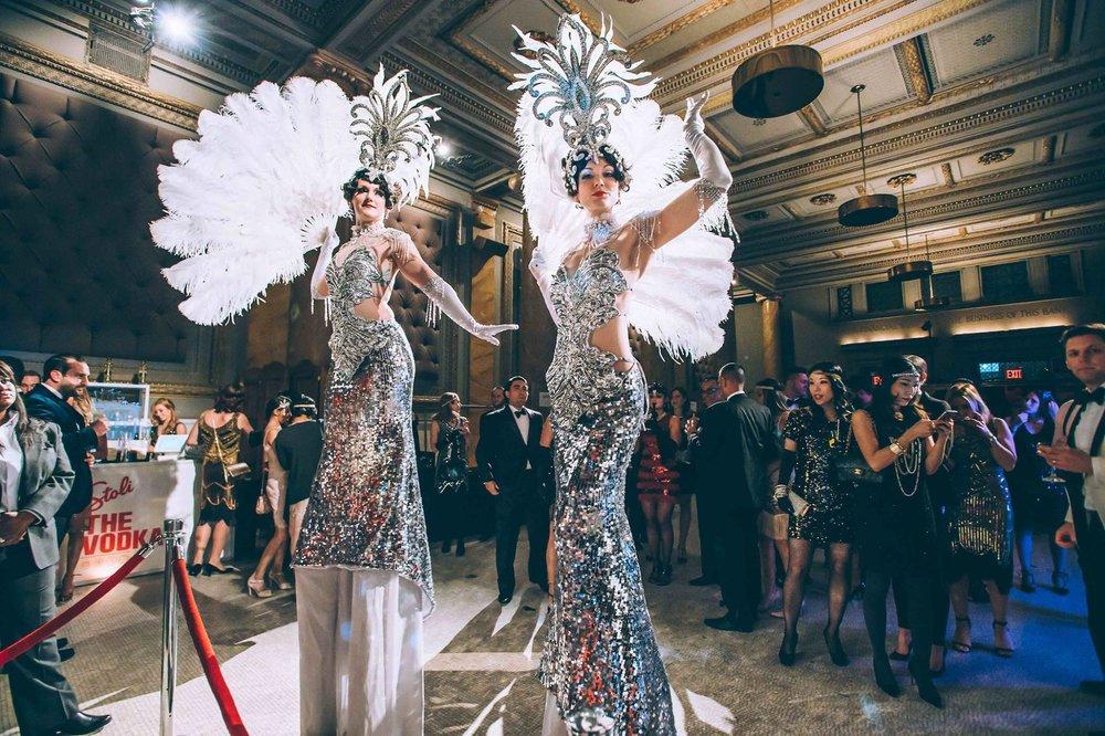 Gatsby Burlesque Showgirl Stiltwalkers