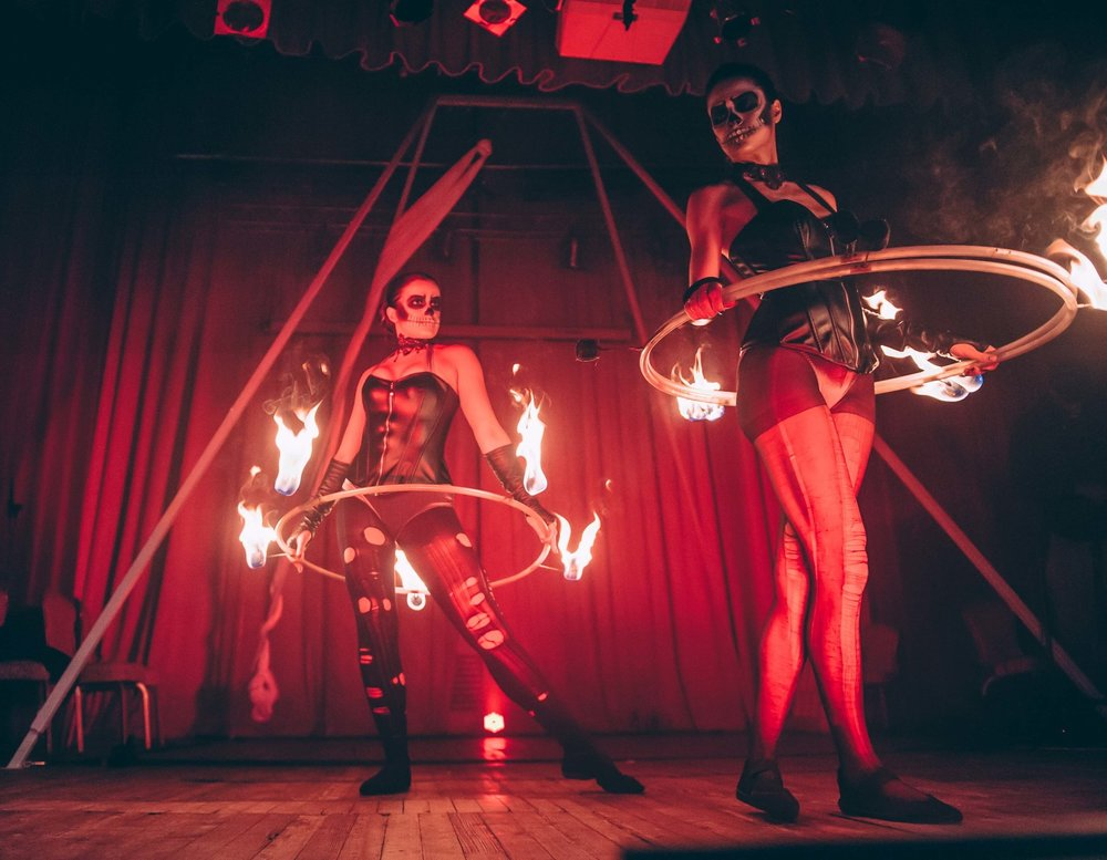 Skeletal Fire Hoop Dancers