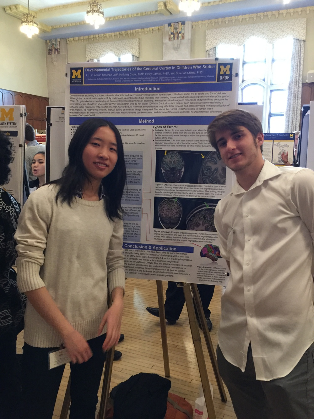 UROP students Lu Li and Adrian Sanchez-Lohff with their poster at the UROP Symposium
