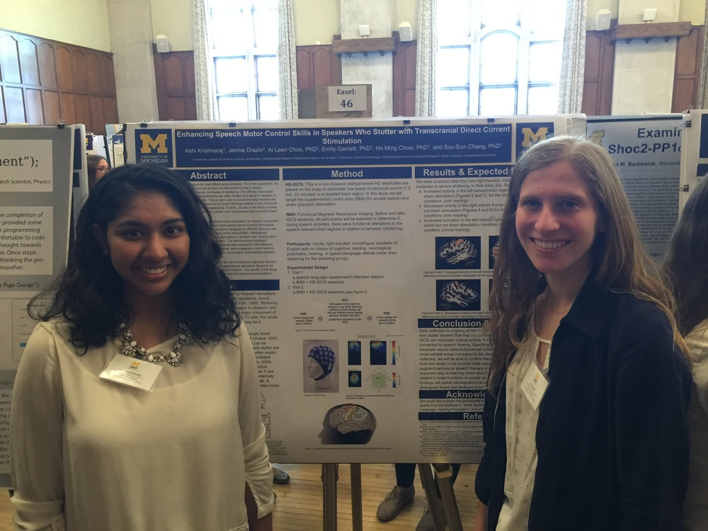 UROP students Abhinaya Krishnaraj and Jennie Drazin with their poster at the UROP Symposium