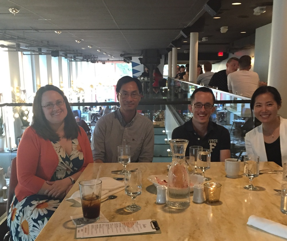 Emily, Ho Ming, and Soo-Eun welcoming our newest team member, Andrew at dinner at Sava's in downtown Ann Arbor.
