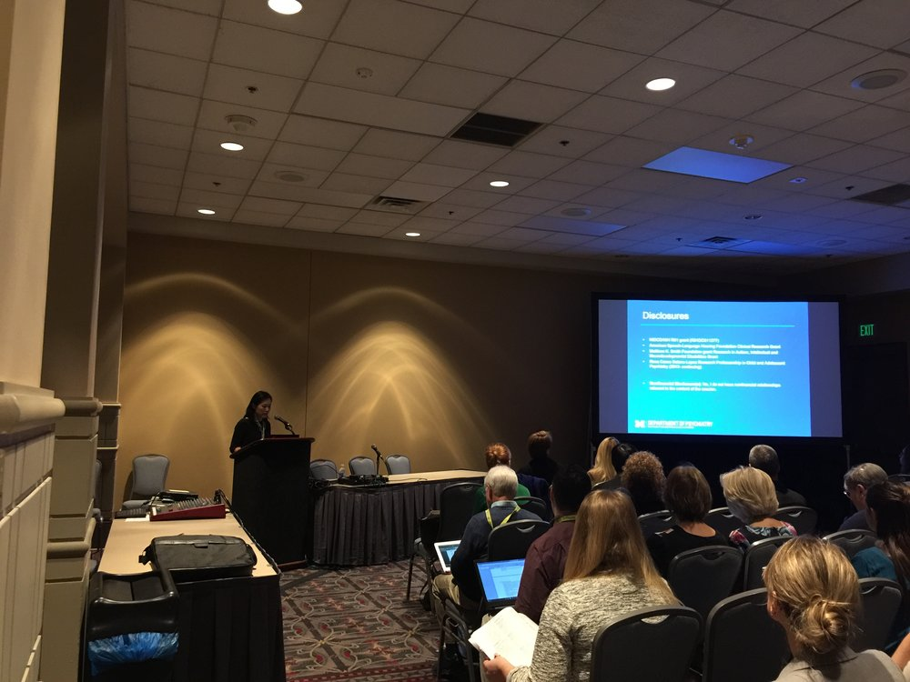 Soo-Eun Chang presenting invited talk at ASHA2016
