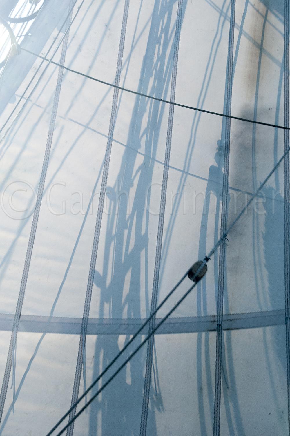 Shadows on the sail of tall ship Lynx